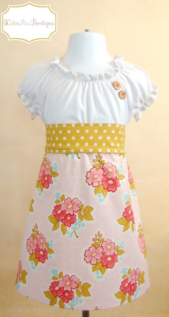 RTS OOAK peasant dress tshirt dress girls by 3cutiepiesbowtique, $40.00