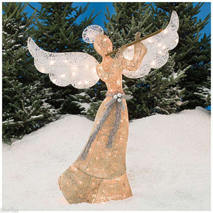5 ft foot 60 gold glittering pre lit champagne angel for Angel outdoor decoration