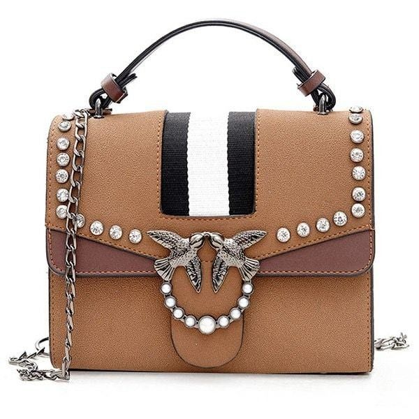 Striped Birds Embellished Rhinestone Crossbody Bag ($24) ❤ liked on Polyvore featuring bags, handbags, shoulder bags, rosegal, rhinestone purses, crossbody handbag, embellished purse, rhinestone studded purse and rhinestone studded handbags