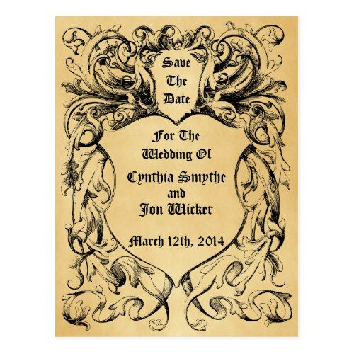 Steampunk Save the Date Wedding Invitations Vintage Victorian Artwork Save The Date Postcard