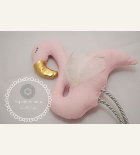Μπομπονιέρα βάπτισης φλαμίνγκο υφασμάτινο , χειροποίητο    Flamingo