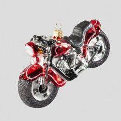 Christbaumkugel, Chopper-Motorrad, Rot, 12,5 x 7 cm