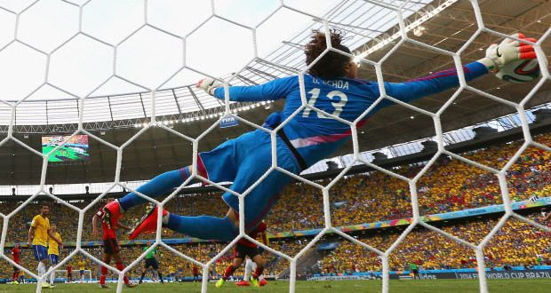 OCHOA HEROICS FORCED BRAZIL INTO GOALLESS DRAW: Mexican goal keeper Guillermo Ochoa put forward an astonishing display of reflexes, positioning and world
