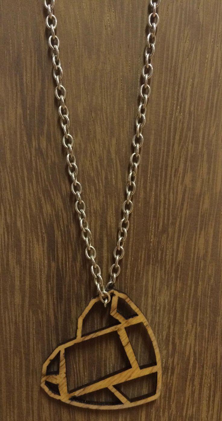 Olive wood necklace. Laser cut.
