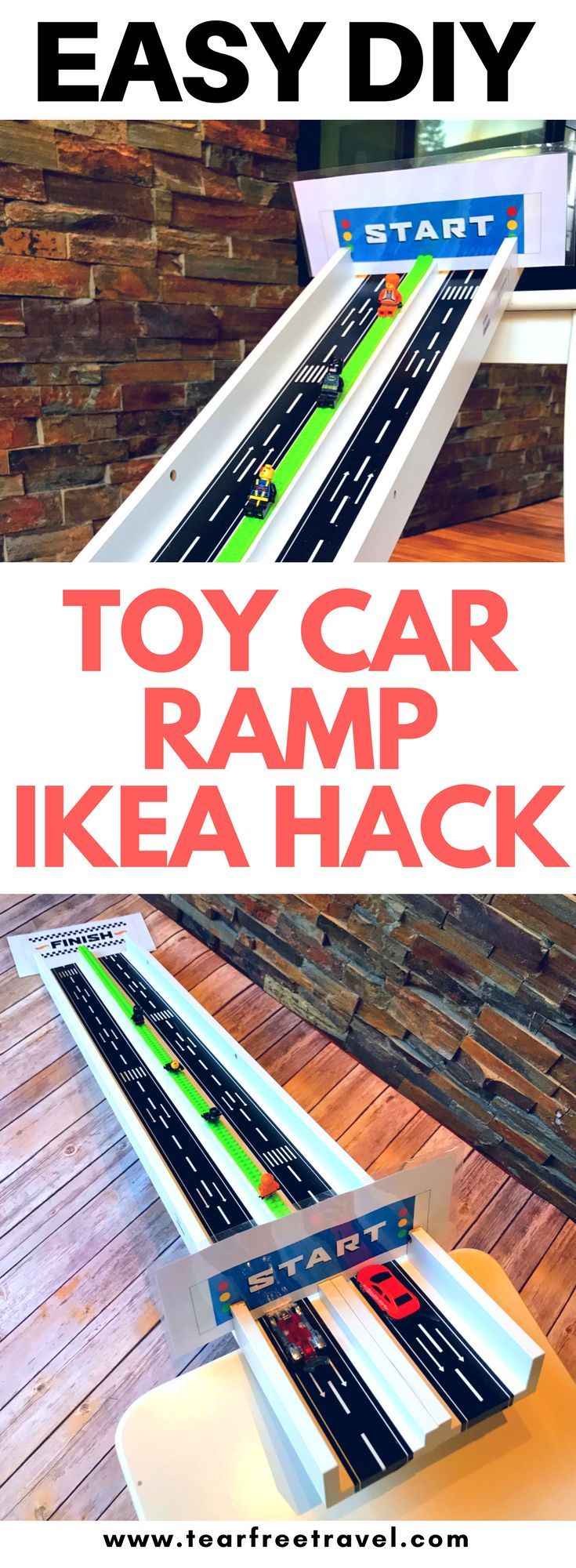 The is the easiest DIY toy car ramp ever! This homemade car ramp will keep your little ones entertained for hours! DIY hot wheels track for toy car racing! #diy #diyramp #diykids #easydiy