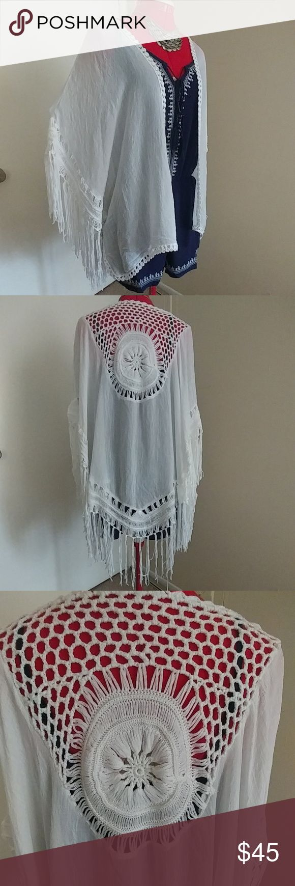 Fringed Kimono - Wrap Just in time for festival season! Beautiful fringed white kimono with crochet design on the back. 100% cotton. October Love Accessories Scarves & Wraps