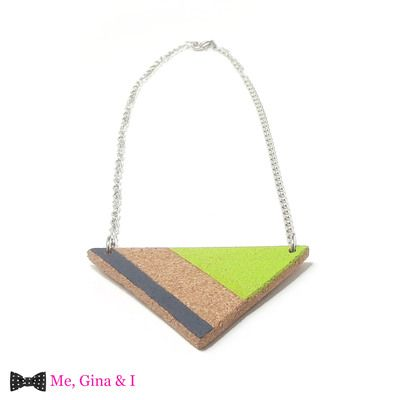 Green & grey triangular short necklace made of cork.