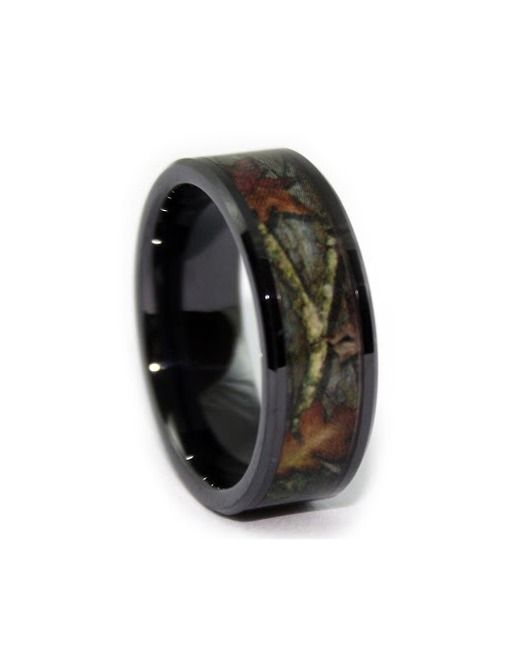 1 camo camo wedding ring black ceramic httpwww - Orange Camo Wedding Rings
