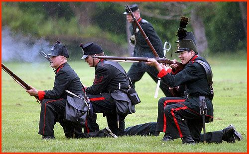 Skirmishers from The Queen's Own Rifles of Canada.