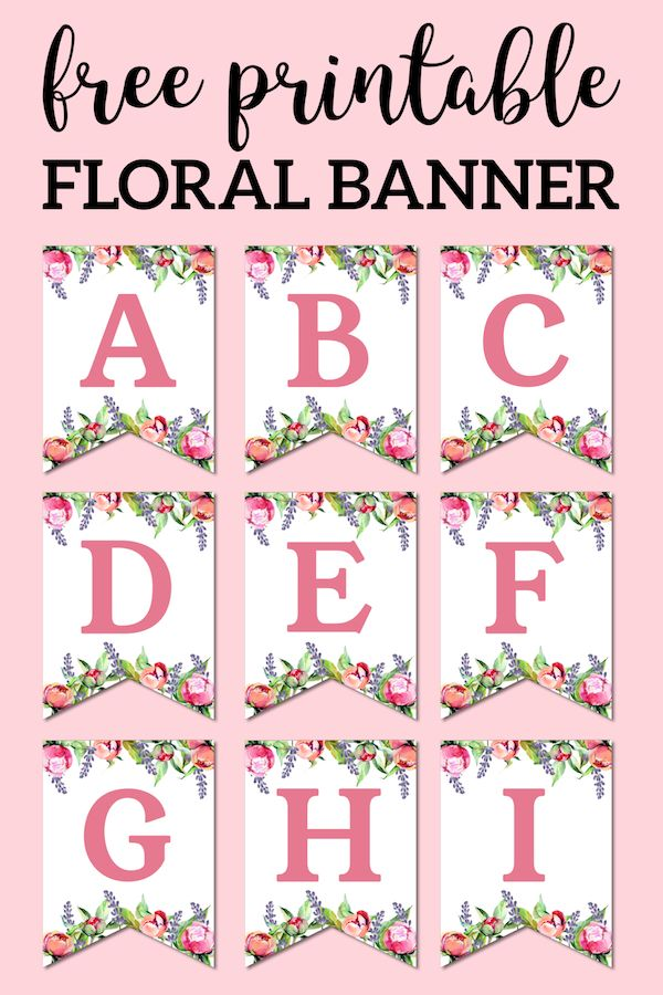photograph relating to Free Printable Alphabet Letters for Banners titled Floral Free of charge Printable Alphabet Letters Banner Little one Showers