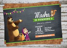 Masha AND THE Bear Party Invitation Printable With Free Matching Thank YOU Card | eBay