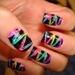 colorful: Nails Design, Makeup Tips, Colors Nails, Black Nails, Nails Ideas, Neon Nails, Nails Art Design, Zig Zag Nails, Rainbows Nails