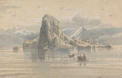 Lars Hertervig, «Fjordlandskap med båter foran bratt klippeøy»