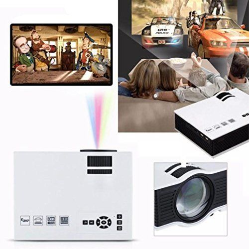 Projector Lary intel 1200lumens 1080P HD LED Mini Home Multimedia Video Projector with Free HDMI for Cinema Theater TV Laptop Game SD iPad iPhone Android Smartphone HDMI VGA USB SD Play * BEST VALUE BUY on Amazon
