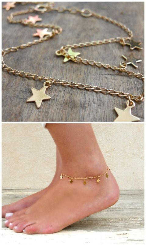 Dainty gold stars anklet