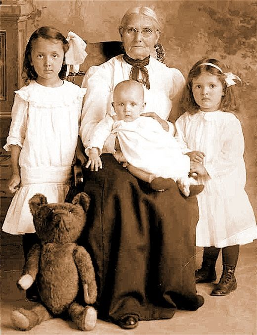 "A local family pictured with a prized teddy bear in the early 1900's. In 1902, a cartoon entitled ""Drawing the Line in Mississippi"" by Clifford Berryman was published in The Washington Post"
