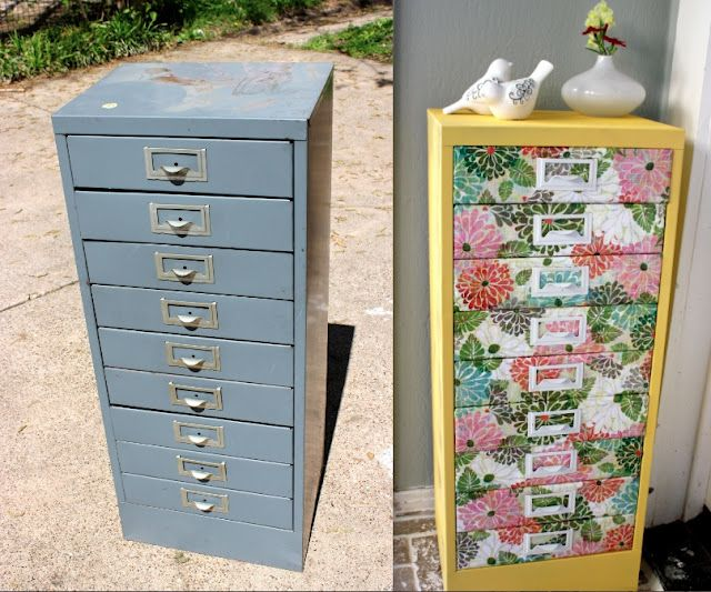 Upcycle old filing cabinet into a pretty storage cabinet