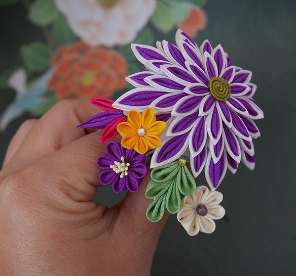 katumi made *手作りしましょう*つまみ細工の簪(かんざし)ちょっとレトロで小粋な1本