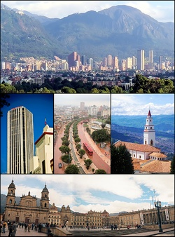 Bogotá - Colombia  Bogotá ocupa un lugar privilegiado en el centro del pais y es la capital de la república de Colombia. Se ubica a 2640 metros de altitud sobre una extensa altiplanicie, circunscripta por fértiles territorios donde se desarrollan actividades artesanales, mucha industria y también tareas agropecuarias. En la bella ciudad de Bogotá se encuentra una gran variedad de climas. Su temperatura puede oscilar entre los 9°C y los 22°C .