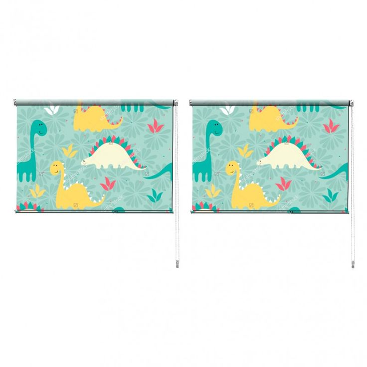 Duo rolgordijn Dino patroon | De duo rolgordijnen van YouPri zijn iets heel bijzonders! Maak keuze uit een verduisterend of een lichtdoorlatend rolgordijn. Inclusief ophangmechanisme voor wand of plafond! #rolgordijn #gordijn #lichtdoorlatend #verduisterend #goedkoop #voordelig #polyester #duo #twee #patroon #dino #dinosaurus #jongenskamer #jongen #groen #mint #cartoon #babykamer #baby #peuter #kleuter