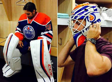 New goalie duds and mask for Mr.Talbot. The 28-year-old netminder was traded from the New York Rangers to the Oilers in exchange for three draft picks after setting career highs in games played (36), wins (21), and shutouts (5).