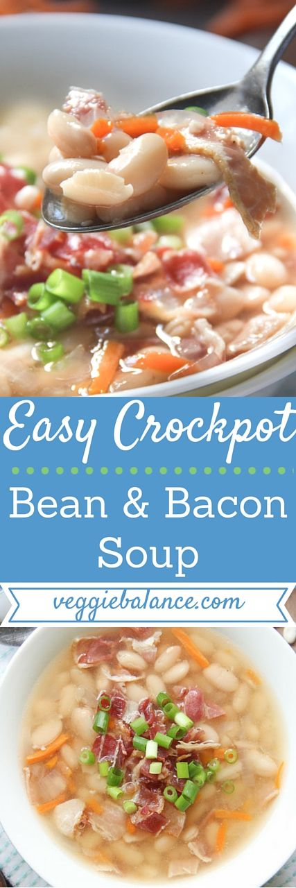 Campbells Bean and Bacon Soup Copycat Recipe made in the crockpot! | 6 All-natural ingredients, loaded with Bacon, Protein packed, Low-fat and low-sodium. |