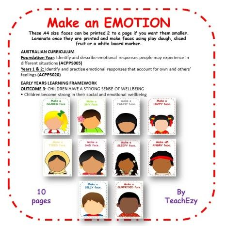 Make an Emotion Mats. Helps children identify and understand different emotions. Linked to the EYLF nd the Australian Curriculum. www.earlychildhoodteachezy.com