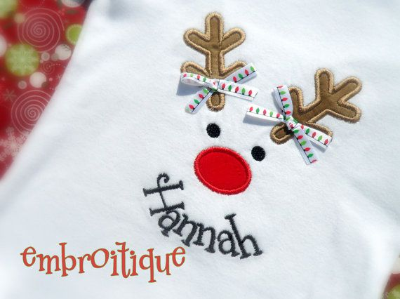 Reindeer Face applique  for Christmas holiday or by Embroitique, $2.99