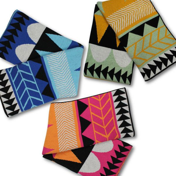 Happy Habitat – geometric and colorful throws