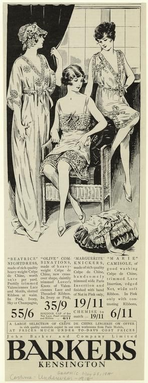 """""""Beatrice"""" nightdress ; """"Olive"""" combinations ; 'Marguerite' knickers ; """"Marie"""" camisole. (1918)"""