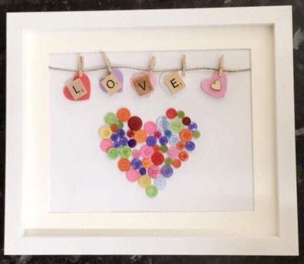 Handmade Love Heart Button Art Scrabble Picture Frame Family Mothers Day Gift FOR SALE • £16.95 • See Photos! Money Back Guarantee. Handmade Scrabble Photo Frame Love or family or initials of you family, with love heart button detail. Treat your Mum for Mothers Day or make a lovely birthday gift for 302226742512