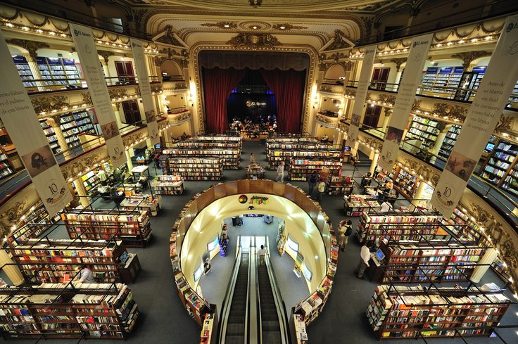 El Ateneo, the best know book store in Buenos Aires, former theater converted into book and music shop, Argentina