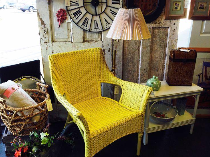 Fun bright yellow chair at Sassy Lane