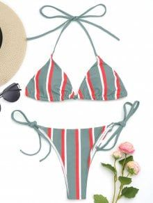 Halter Striped String Bikini Set