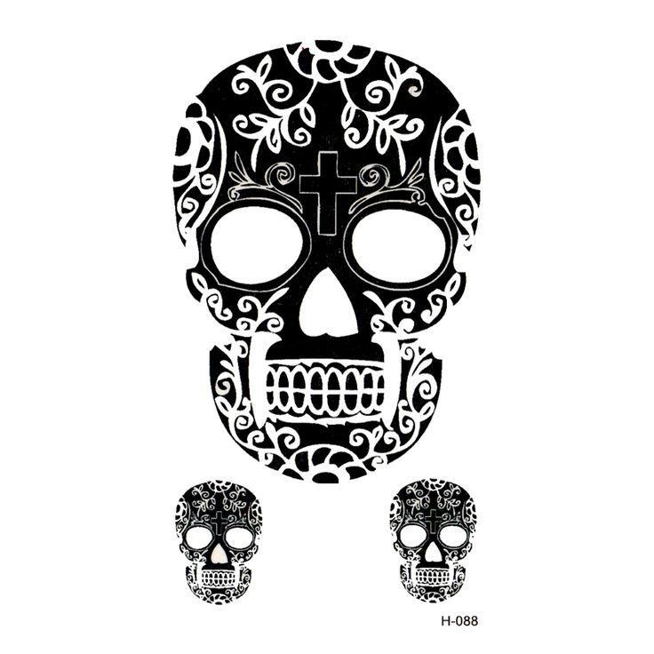 new Skull temporary tattoos sticker waterproof temporary body arts flash tattoo sticker tatoo Men and women henna tattoo