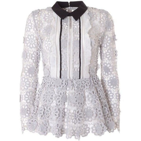 SELF-PORTRAIT Daisy guipure-lace shirt (€265) ❤ liked on Polyvore featuring tops, bagheera, shirts, grey, gray shirt, scalloped lace top, lace top, long sleeve tops and sheer long sleeve top