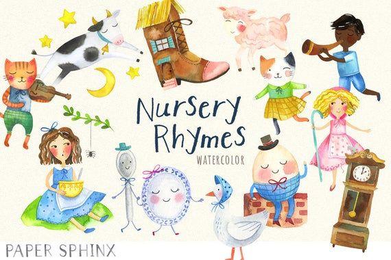 Watercolor Nursery Rhymes Clipart Mother Goose Clip Art Etsy In 2020 Watercolor Nursery Nursery Rhymes Rhymes