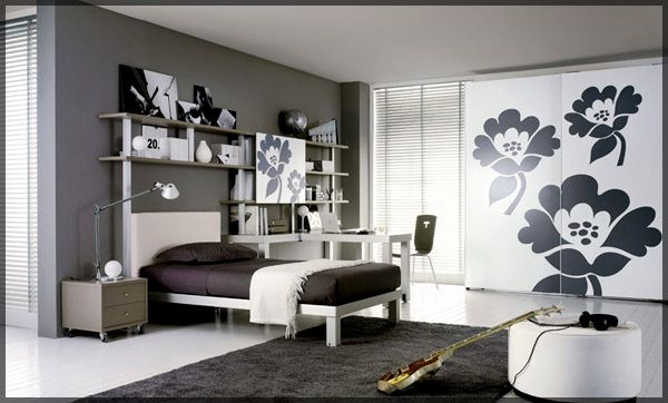 Teen girls room decorated with black and white