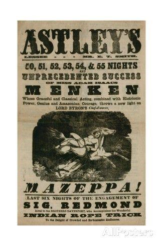 menken mazeppa poster, Astley's, London