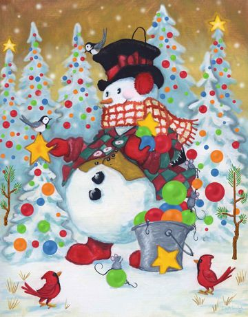 Snow Pals, snowmen, snowman art from master painter of all things Christmas, Joseph Holodook