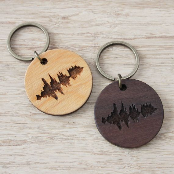 Custom Wooden Keyring Engraved Voice Music Song Sound Wave