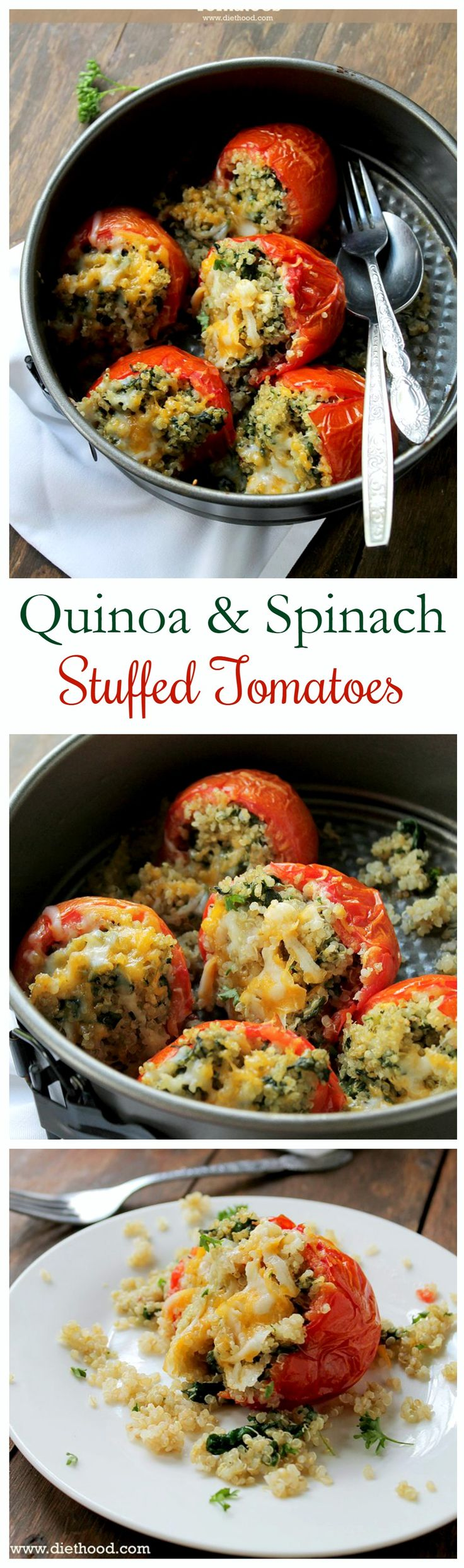 Delicious Baked Tomatoes Stuffed With A Cheesy Quinoa And Spinach Mixture