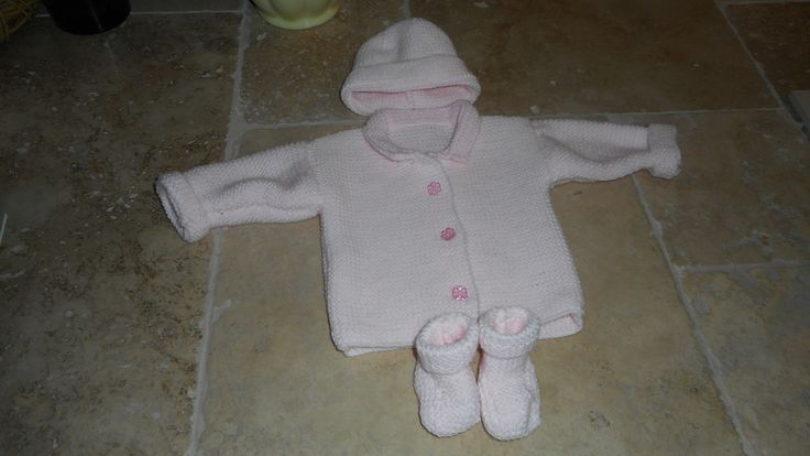 Baby girl hand knitted outfit