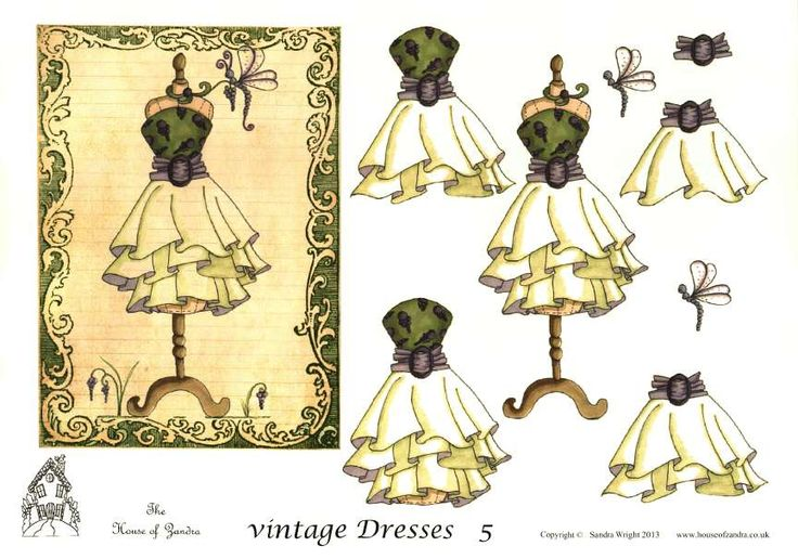 The House of Zandra decoupage - Vintage Dresses 5