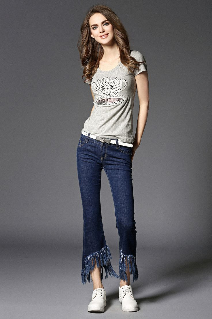 Sequin orangutan printing shirt + tassel flare bottom denim jeans pants for women clothing