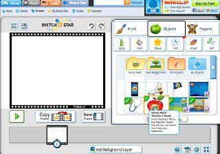 Met Sketch star kan je online animatiefilmpjes maken. Je krijgt een hele set aan tools om je frames te bewerken: clipart tekstgereed...