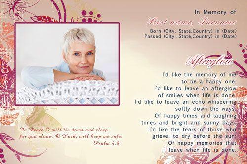 Floral, Memorial Card, Funeral Card, Funeral poems
