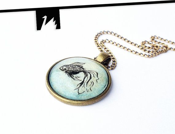 Gold Fish Necklace Gold Blue Fish Jewelry Fish Pendant Pisces Original Painting under glass. TotemSwan artistic jewelry