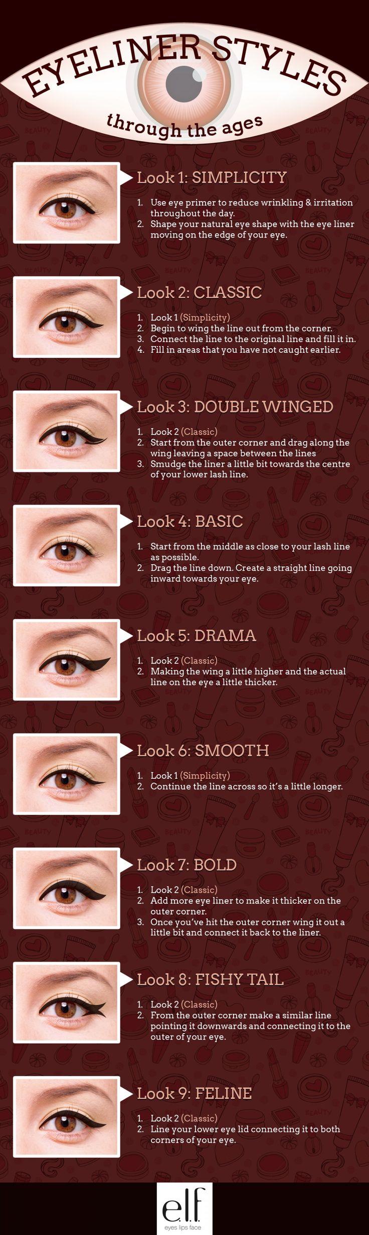 Estilos eyeliner, descubre diferentes estilos para tu eyeliner. con visual.ly #Maquillaje #MakeUp #Eyeliner #Belleza