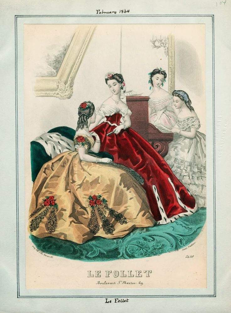 In the Swan's Shadow: Le Follet, February 1864.  Civil War Era Fashion Plate